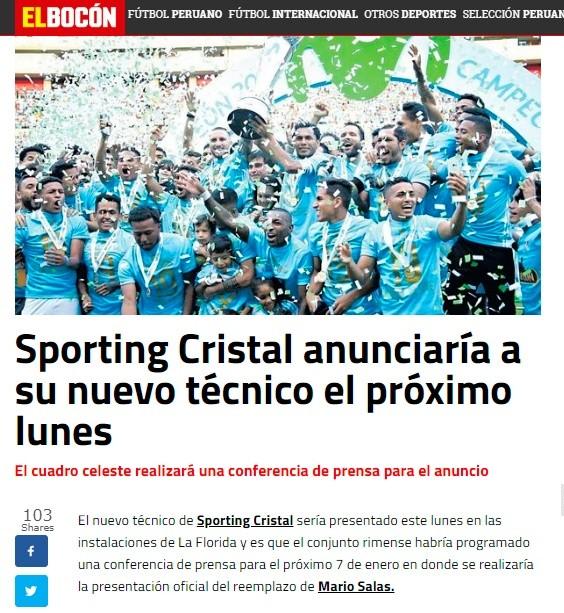 El Bocón Sporting Cristal Presentará Su Nuevo Técnico La Próxima
