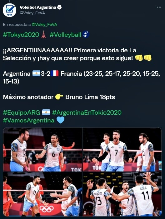 Primer triunfo en Tokio 2020 de la Selección Argentina de vóley masculino